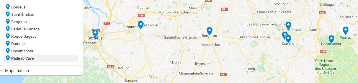 Mapa viagem Dordonha